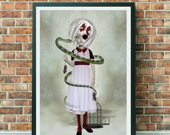 Big eyes | Pop surrealism art print | Girl with snake | Digital illustration | Snake wall art | Art gift | Snake Illustration | Large print