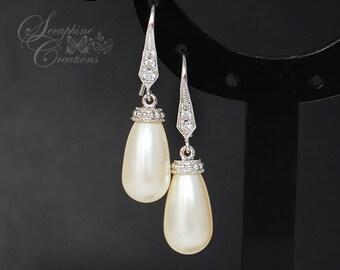 Bridal Pearl Earrings Wedding Jewelry Teardrop Pearl Earrings Cubic Zirconia Swarovski Bridesmaid Gift White Cream K022