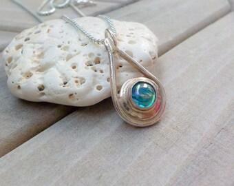 Rainbow Topaz Silver Necklace / Gemstone Necklace / Mermaid  / Silver Clay Jewelry