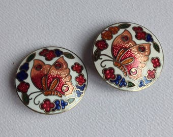 Enamel Butterfly Cloisonne Earrings - Clip Fittings  - Gifts for Her - Valentines - Mothers Day