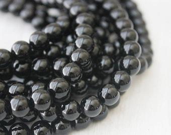 Natural Gemstone Black Onyx 8mm Round Full Strand AA Quality USA Seller
