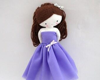 Ballerina rag doll - plush toy cloth art doll ballerina in purple tutu dancer ballet ooak Made to order