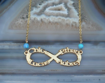 Infinity Name Necklace - Personalized Name Necklace - Custom Name Necklace - Nameplate Necklace - Personalized Name Jewelry - Opal
