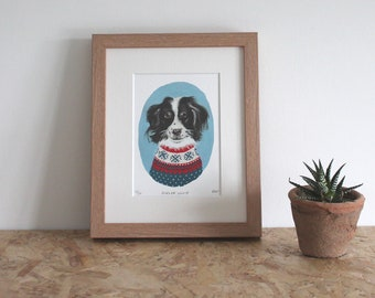 Border Collie mounted fine art print