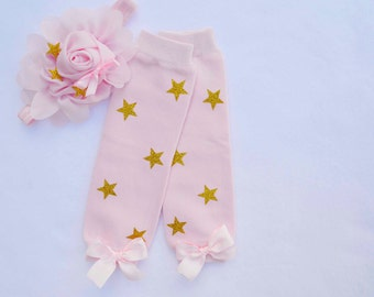 Pink and gold twinkle twinkle little star leg warmers,baby leg warmers,girls leg warmers,pink and gold birthday outfit,pink gold leg warmers