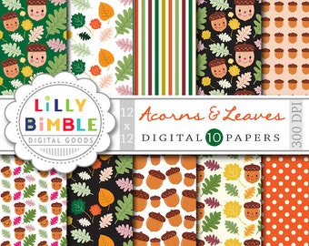 Acorns & Leaves digital papers with kawaii acorns in autumn fall colors scrapbooking Instant Download