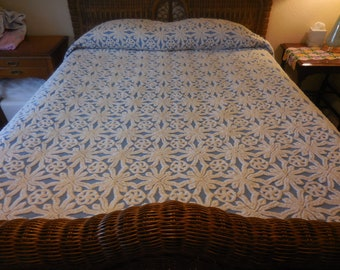 Gorgeous and Heavy Hofmann BLUE with WHITE Circles and SNOWFLAKES Vintage Chenille Bedspread - Free Shipping