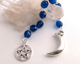 Dark Teal Blue Gratitude Beads // Moon & Pentacle // Goddess // Pagan // Wiccan