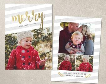 Digital Photoshop Christmas Card Template for photographers PSD Flat card - Gold Script CC039