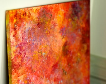 Abstract Fiery Red, Orange & Gold | Acrylic Painting