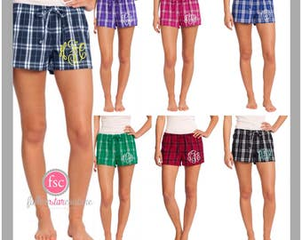 Personalized ladies pajama shorts, monogrammed shorts pjs, bridesmaid shorts , monogrammed flannel pjs, getting ready shorts