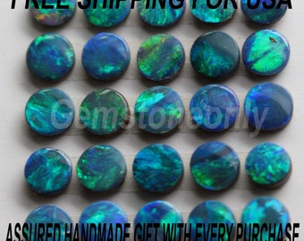 Natural Australian Boulder Opal Doublet Round Cabochon Calibrated Size 3mm to 6mm Multi Fire Color - Natural Doublet Loose Gemstone