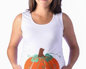 Pumpkin Maternity Shirt, (White) Halloween Maternity Shirt, Funny Maternity Tee, Gender Reveal Maternity, Cinderella Maternity