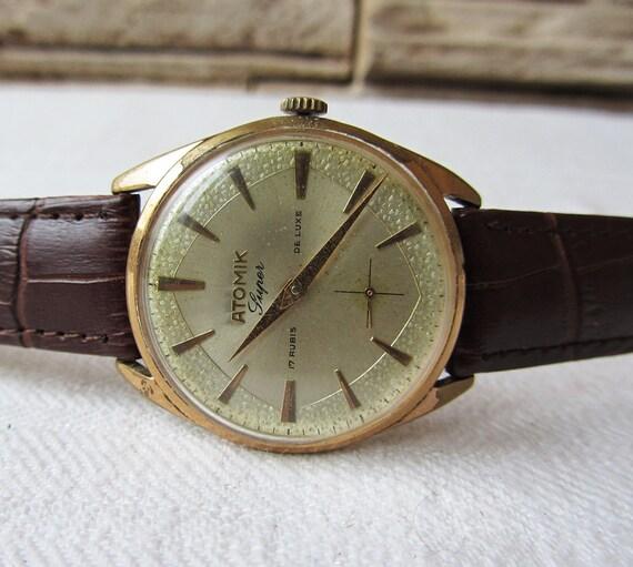 Rare Vintage Men's Watch Atomik Super 17 Rubis De Luxe