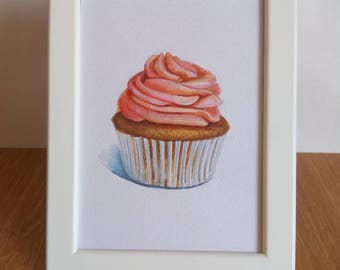 original 5x7 cupcake paintings / food illustration / dessert art / small painting / cupcake home decor / cupcake baby shower / for kitchen