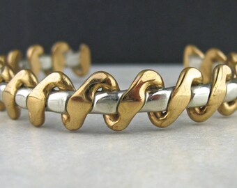 Vintage Sergio Lub Gold Brass Silver Cuff Bracelet, Art Deco Jewelry, Vintage Braided Mixed Metals Bracelet, Gold Silver Tone Cuff Bracelet