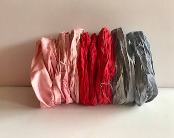 Silk Sari Ribbon-Pink, Red, Gray Sari Ribbon-9 Yards