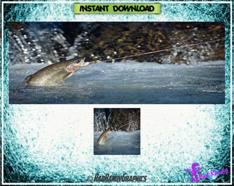 Facebook Cover and Profile Image Design Set , Trout Fishing Design.