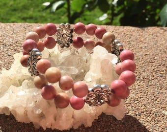 Rhodanite Bohemian Inspired Crystal Bracelet