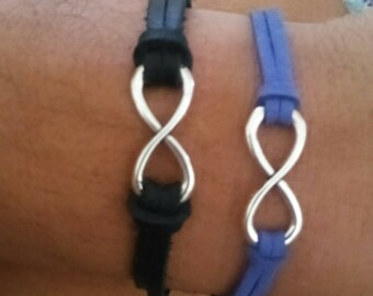 His and Hers Leather Infinity Bracelets