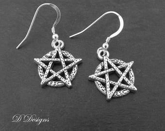 Pentagram Earrings Wiccan Sterling Silver Gifts