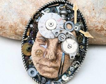 time traveller, steampunk pendant, clock movements, skin, ooak handmade ceramic supply