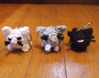 Crochet cat keychains, choice of five small cat keychains, ready to ship