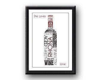 Personalised 'She Loves Wine' Word art / Typography Print