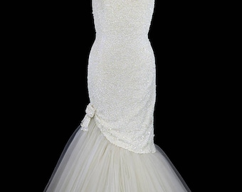 Ceil Chapman Evening Gown Or Wedding Dress, Sequined Heavily Beaded, Tulle  Skirt Mermaid Trumpet