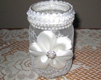 Lace Mason Jar Candle Holder Wedding Centerpiece  Bridal Accent Home Decor Pint Sized