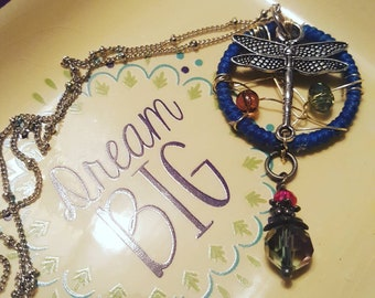 Dragonfly dream catcher necklace