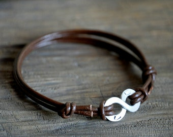 Infinity Bracelet with initials, Leather with PERSONALIZED stamping on Aluminium, Mens and Unisex, Anniversary or Valentine's gift