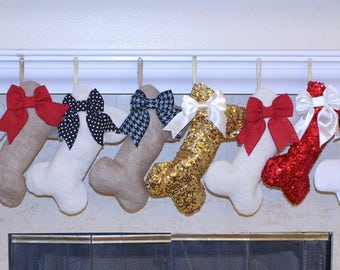 Single Dog Stocking (1) - MINI Christmas Dog Stocking / Gift Stuffer with Bow.  Pet Stocking.  Made in USA