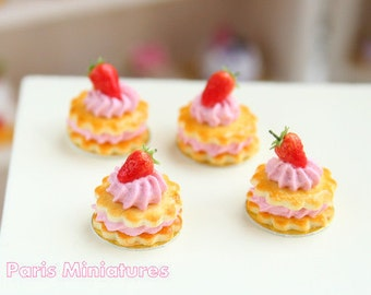 French Sablé Chantilly Fraises -  Strawberry and Cream Shortbreads in 12th Scale - Handmade Dollhouse Miniature Food