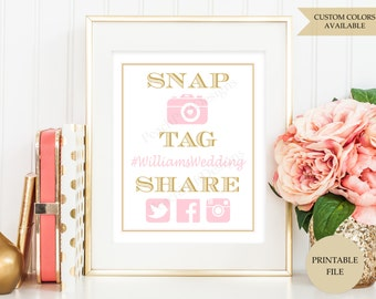 Wedding Hashtag sign (PRINTABLE FILE) - Hashtag wedding sign - Hashtag printable - Instagram Birthday