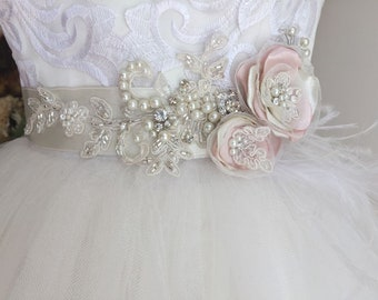 Ivory Wedding  Dresses Accessories, Wedding Sash Belts, Bride Waistband Bridal Belts, Ivory Sashes, Flower, Sash Belt