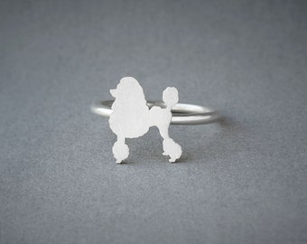 POODLE RING / Poodle Ring / Silver Dog Ring / Dog Breed Ring / Silver, Gold Plated or Rose Plated.