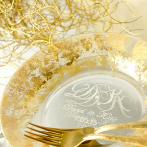 Table Setting From the Collection, Gold Wedding Forks and Plate, Personalized Gold Plates, Gold Wedding Forks, Gold Wedding Plate, Engraved