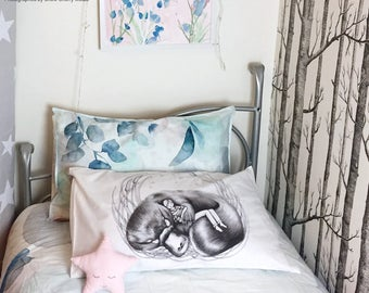 Platypus pillowcase with boy, facing right. White cotton picture bedding. Pillowslip. Australian gift with original art by flossy-p