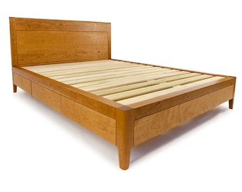 Cherry Storage Bed - Platform Bed No. 2 - Modern Wood Bed Frame with Drawers - King bed, Queen Bed, Full Bed - Cherry Bed