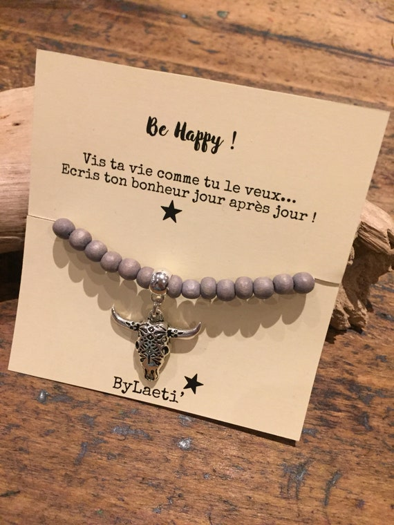 """Be happy"" wooden Bead Bracelet"