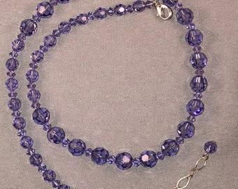 Adjustable purple Swarovski crystal necklace. 047