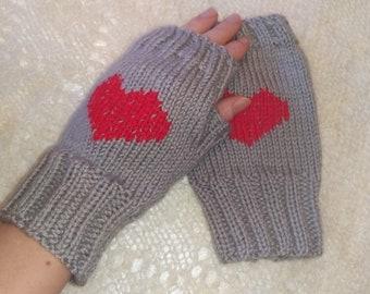 Winter Autumn Fingerless Red Heart Gloves