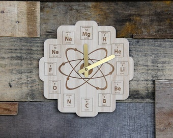Wood Periodic Table Clock - Baltic Birch Plywood