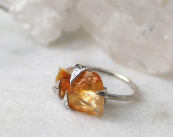 sunstone ring, recycled silver, leaf ring, statement ring, fall fashion, gifts for her, oregon sunstone