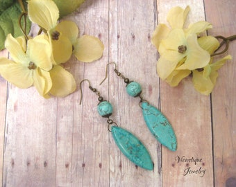 Turquoise Earrings, Magnesite Earrings, Long Earrings, Drop Earrings, Dangle Earrings, Bronze Earrings, Boho Earrings