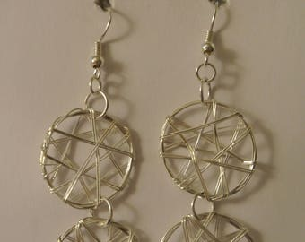 Double Bright Silver Wire Disks with silver fishhook