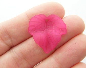 50 Pink frosted acrylic leaf charms