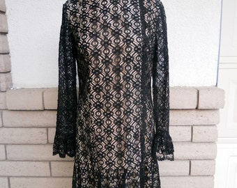 60s Black Lace Party Dress Illusion Lace Long Sleeve Dress by Elinor Gay Medium