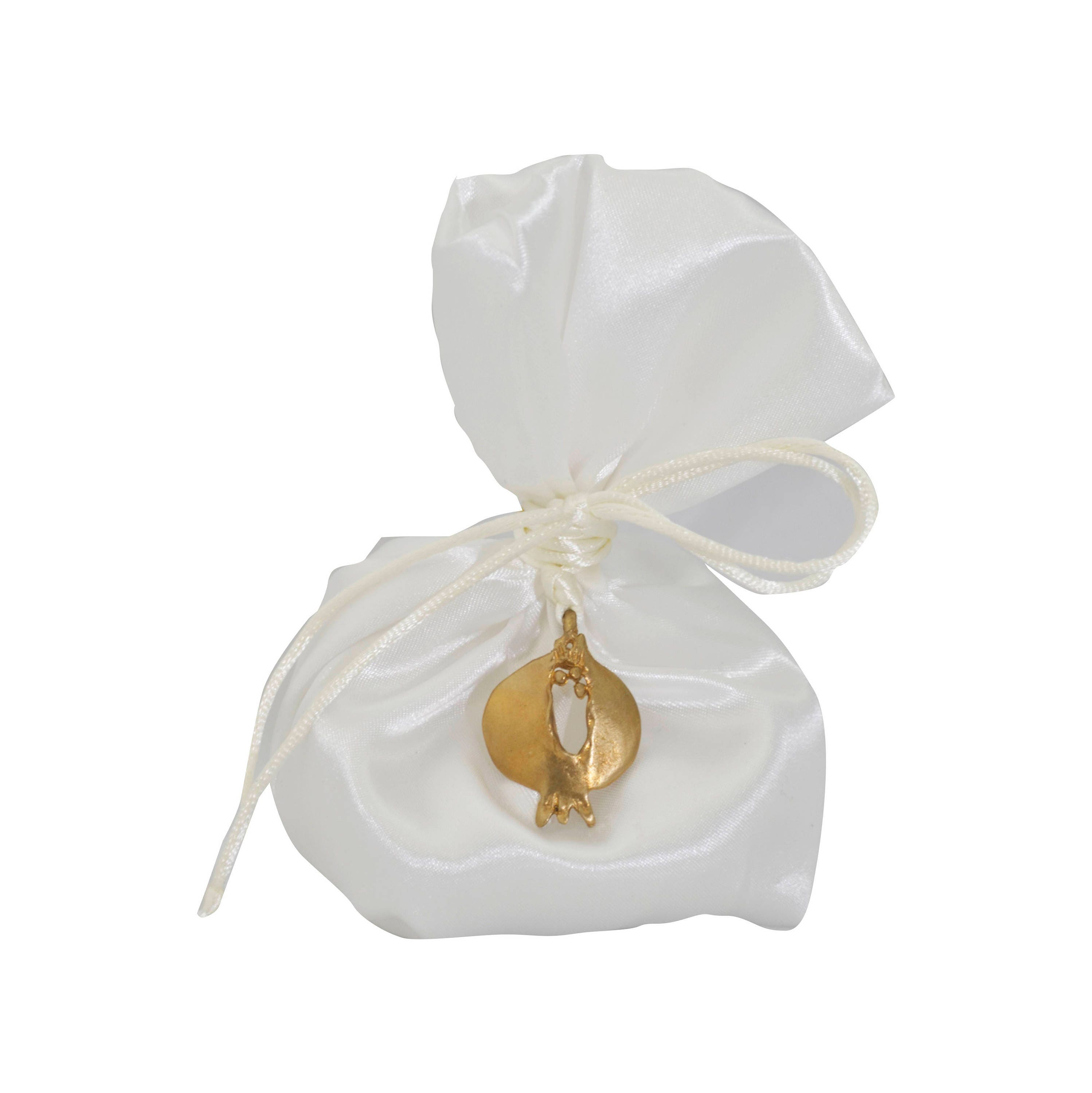 Wedding favor, bronze pommegranate,satin pouch and ribbon with ...